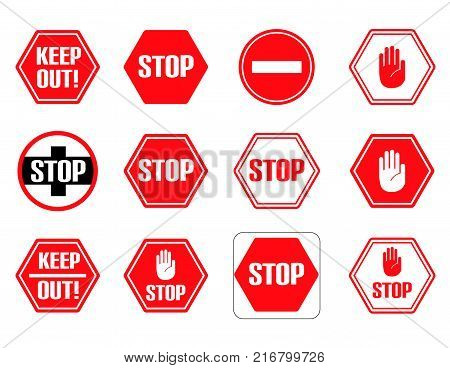 Traffic stop, restricted and dangerous vector signs isolated. Illustration of traffic road and stop symbol, warning and attention for your web design.