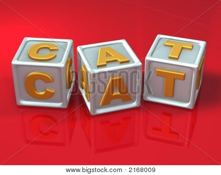 block letters - 3d concept illustration cat poster