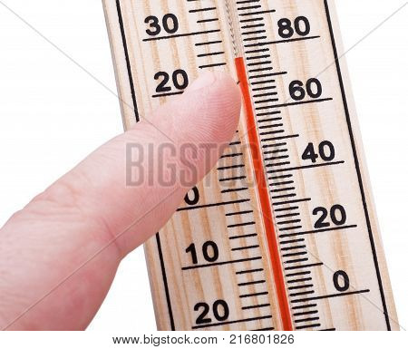 wooden thermometer in hand isolated on white background