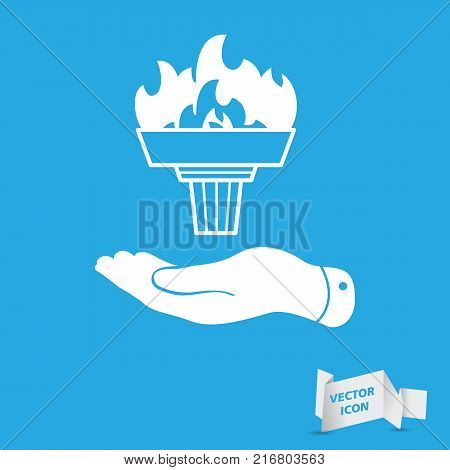 flat hand represents white torch with flame icon - vector illustration