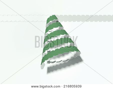 Green tear-off tape in shape of christmass tree. 3d rendering