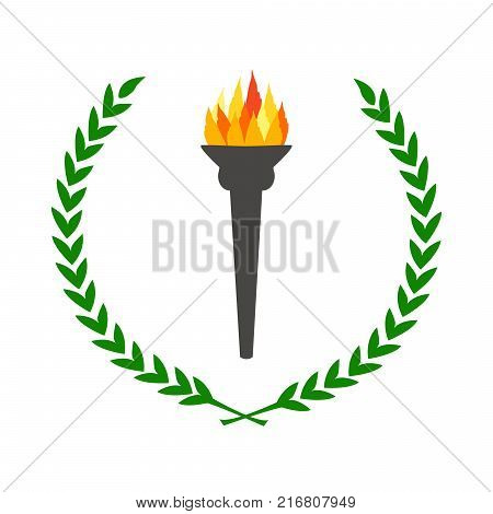 olympic flame burning torch with laurel wreath green leaves circle simple color flat vector illustration olympic games symbol