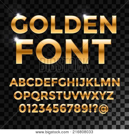 Golden glossy vector font or gold alphabet. Yellow metal typeface. Metallic golden abc, alphabet typographic luxury illustration for your web design