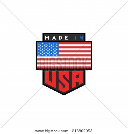 Made in USA logo design. American quality patriotic emblem. United States of America flag. National product guarantee slogan t-shirt print or sticker design element