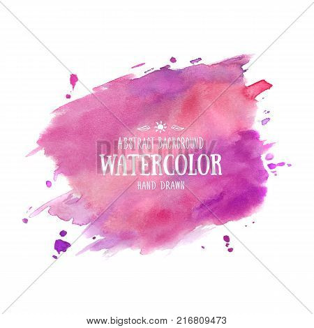 Lilac-purple abstract aquarelle background. Hand drawn watercolor stains, splashes and drops. Violet vector texture handmade