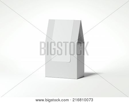 White package with blank sticker isolated on bright background. 3d rendering
