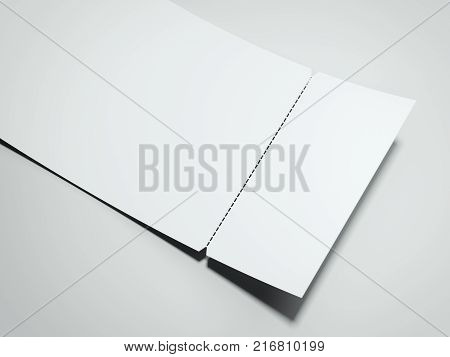 Blank white tear-off ticket isolated on gray background. 3d rendering
