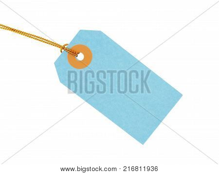 pastel blue gift tag with yellow gold strings isolated on white background, blank label for write greeting message and add beauty to gift box, flat lay close-up top view