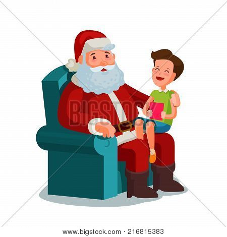 Christmas or New Year. Happy child sitting on lap of Santa Claus. Cartoon vector illustration isolated on white background