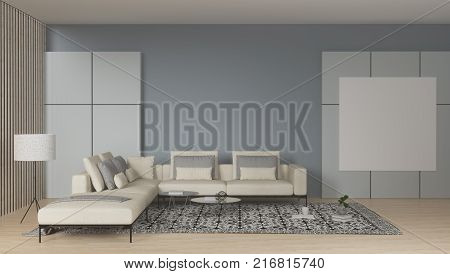furniture and white sofa in the room interior home interior with minimalist style on the wood floor and clean wall for the art works 3d illustration