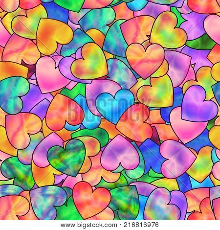 Bright Seamless Pattern of Colorful Hearts with Stylized Holographic Effect. Continuous Romantic Background.