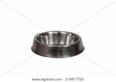 Metal feeding bowl isolated on white background with clipping path. Iron dog bowl on white pattern.