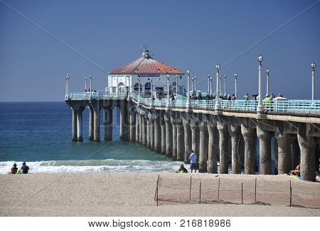September 16 2016. Manhattan Beach California. People walking on the manhattan beach pier in Manhattan Beach California on the pacific ocean.