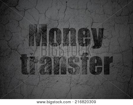 Money concept: Black Money Transfer on grunge textured concrete wall background