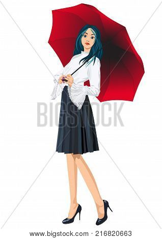 Picture of a girl with blue hair standing under a red umbrella - vector