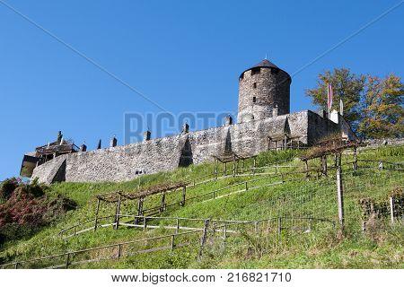 Reith im Alpbachtal Austria - 14 October 2016: Boutique Hotel Schloss Matzen in 1000 year old castle overlooking the Inn RiverReith im Alpbachtal Austria 14 October 2016
