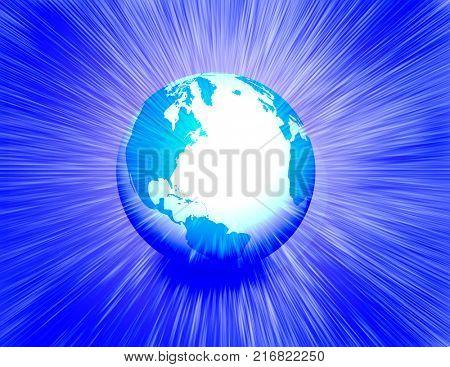 Earth globe radiates light. 3D rendering.