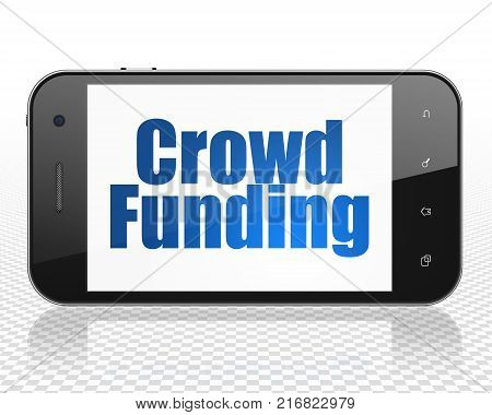 Business concept: Smartphone with blue text Crowd Funding on display, 3D rendering
