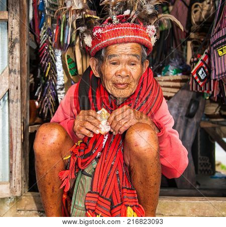 BANAUE PHILIPPINES - MARCH 31, 2016 : Unknown old ifugao man in national dress on March 31, 2016. Ifugao - the people in the Philippines. Refers to the mountain peoples.