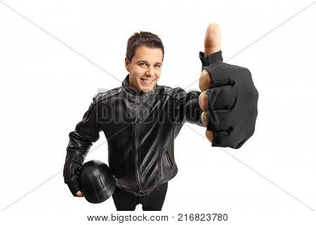 Biker with a helmet making a thumb up sign isolated on white background