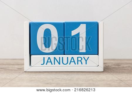January 1st. Day 1 of january month, calendar on light background. Happy New year, Winter time.