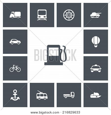 Set Of 13 Editable Transportation Icons. Includes Symbols Such As Haulage, Car Vehicle, Wheel And More