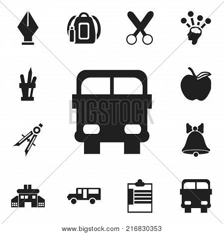 Set Of 12 Editable School Icons. Includes Symbols Such As Measurement, Autobus, Pen Holder And More