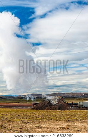 Deep magma well created in Iceland deep drilling project to study geothermal energy production in Iceland. Krafla volcano, Iceland