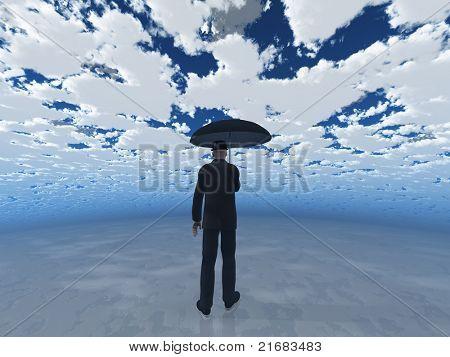 hombre con paraguas bajo cielo nublado