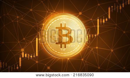 Golden bitcoin coin with bull trading stock chart. Bitcoin Gold and Cash lightning blockchain hard fork concept. Cryptocurrency coin icon illustration on polygon peer to peer network background.