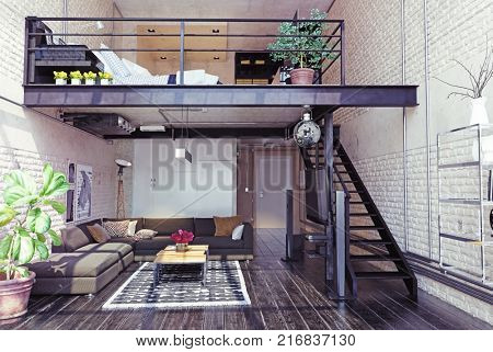 modern loft interior design. Contemporary style. 3d rendering concept