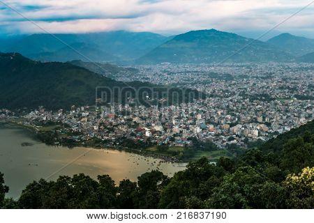 View on Pokhara city and Phewa lake, Nepal