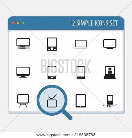 Set Of 12 Editable Instrument Icons. Includes Symbols Such As Notebook, Telly, Screen And More