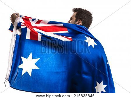 Australian fan celebrating on white background
