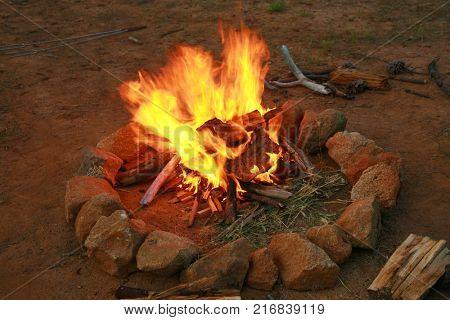 Camp Fire. BBQ Fire.