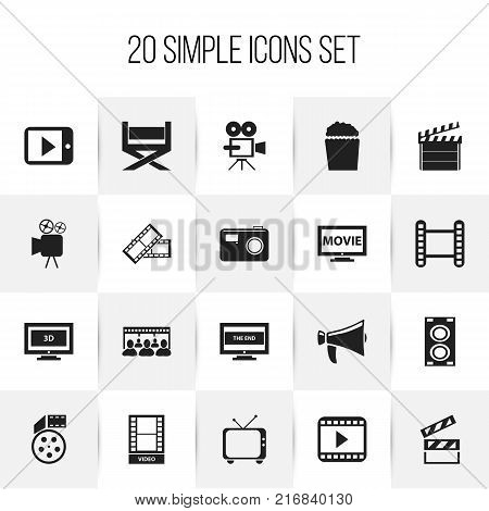 Set Of 20 Editable Filming Icons. Includes Symbols Such As Photographing, Telly, Movie And More