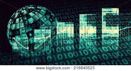 Internet Connection with Moving Data Packets Art