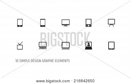 Set Of 10 Editable Gadget Icons. Includes Symbols Such As Computer, Tablet Phone, Telly And More