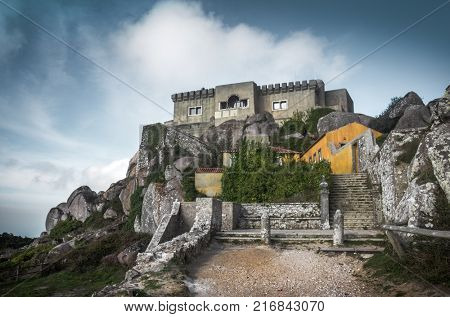 View of Peninha Sanctuary in a high hill of Sintra mountain range in Portugal