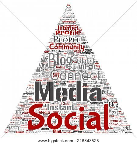 Conceptual social media networking or communication web marketing technology triangle arrow word cloud isolated on background. A tagcloud for global community worldwide concept or advertising