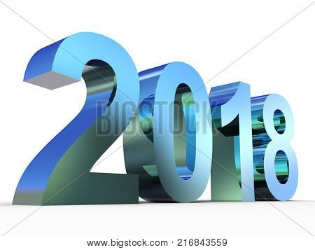 Conceptual 2018 year made of shiny blue metal font isolated on white background. An abstract creative rich  holiday 3D illustration, metaphor to future technology, prosperity or business growth