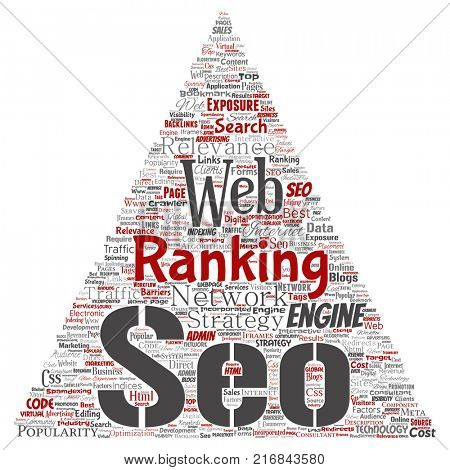 Conceptual search results engine optimization top rank seo triangle arrow online internet word cloud text isolated on background. Marketing strategy web page content relevance network concept