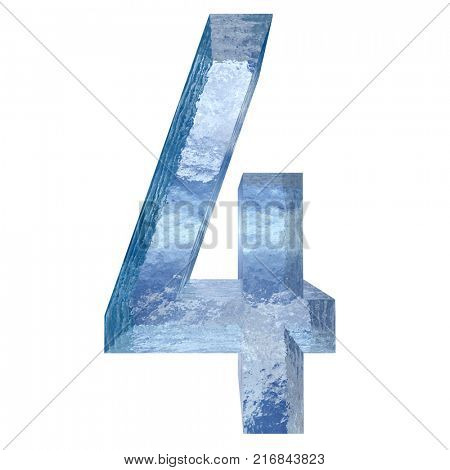 Conceptual blue light cold frosted water or ice winter season font isolated on white snow background. Cool crystal decorative character cut of frozen liquid, transpaernt 3D illustration concept