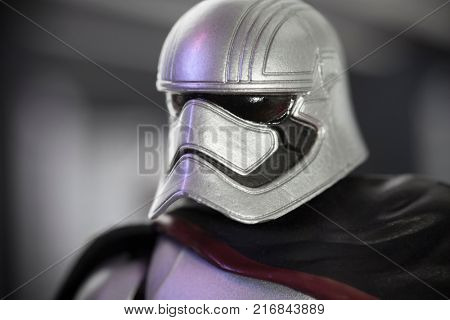 Closeup of Star Wars First Order Stormtrooper Captain Phasma - select focus. Capt. Phasma is played by actress Gwendoline Christie