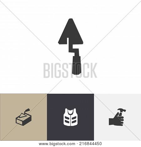 Set Of 4 Editable Building Icons. Includes Symbols Such As Cork Jacket, Trowel, Mallet And More