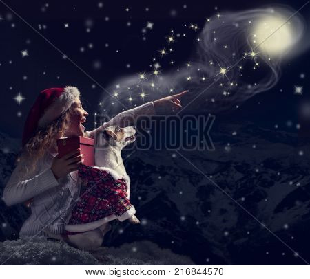 Happy child dog looks at the sky. Girl and pet in christmas hat with gift