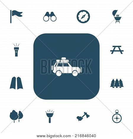 Set Of 13 Editable Trip Icons. Includes Symbols Such As Desk, Wood, Hatchet And More