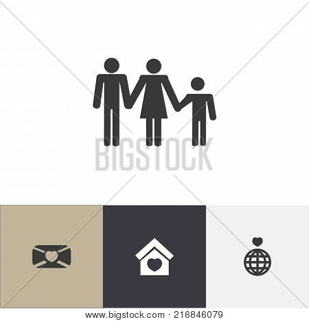 Set Of 4 Editable Love Icons. Includes Symbols Such As Lineage, Building, Mail And More