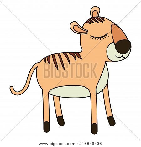 female tiger cartoon with closed eyes expression colorful silhouette in white background vector illustration