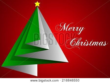 design of greetings card merry christmas with green triangles and red backgrounds